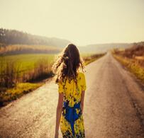 The charming girl walks